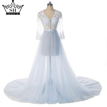 See Through Long Sleeves Tulle Wedding Dresses Pink and Blue  Pregnancy Photography Sexy Bridal Dress 2017 ME0050