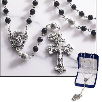"Men's Rosary, Features 8 mm Loreto Our Father Beads, 6 mm Onyx Bead, Oxidized Silver -- 21"" L"