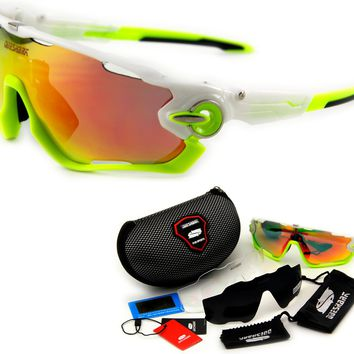Queshark Brand Tour De France Polarized Cycling Sunglasses Cycling Glasses Bicycle Bike Goggle 3 Pair Lens Full Red