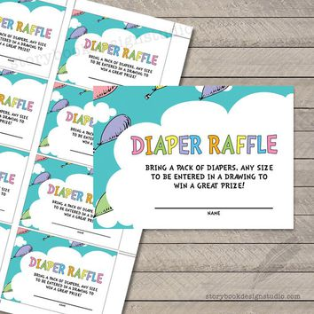 Oh the Places Baby Shower Diaper Raffle Tickets