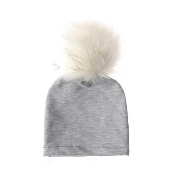 1PC  Winter Warm Knitted Soft Cotton Hat Baby Girl Boy Hat Cap Beanie With Fluffy Fur Ball Hat Kids Fashion Cute Style