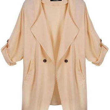 Oversize Fall Jacket Long Trench Coat in Loose Fit   Apricot