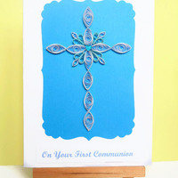 First communion card, quilled communion card, communion card, religious card, first communion, handmade card, greeting card, quilled card