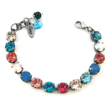GYPSY FLING, 8mm Swarovski crystal tennis bracelet, multi-colored, bright and sparkly Siggy bling