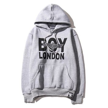 Tide brand autumn and winter new boy london men and women with cashmere hooded sweater wild lovers long-sleeved shirt wave Gray