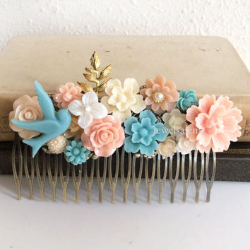 Coral Turquoise Wedding Peach Pink Hair Comb Pale Floral Headpiece Flower Bridesmaids Gold Blush Pastel Colors Soft Romantic Shabby Chic