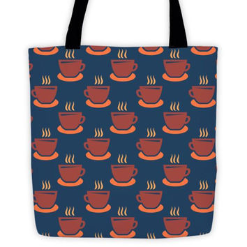 Coffee / Tea Cup Pattern Tote bag