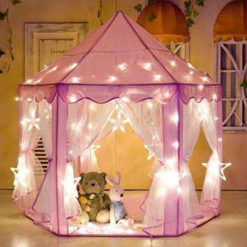 "Princess Castle Play Tent ,Portable Kids Play Tents ,Fun Hexagon Girls Playhouse, Indoor and Outdoor - 55""x 53""(DxH"