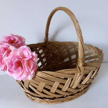 Vintage French Willow Market Basket