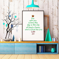 Scripture wall art - Religious Christmas sign - Christmas wall art - Christmas print - Christmas tree print - Luke 2:11 print
