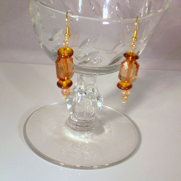 CAPTURE -  Beautiful Topaz Glass Gold Wire Dangle Earrings