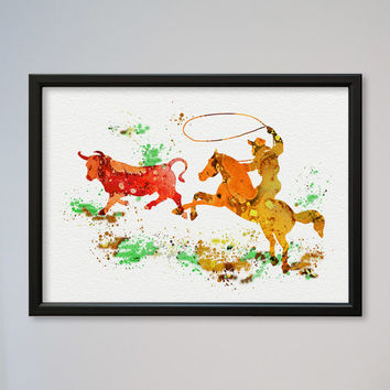 Cowboy FRAMED Watercolor Print Sport Rodeo Cowboy Cow Lasso illustration Art Poster Kid's Room decor Giclee Wall Decor Wall Hanging
