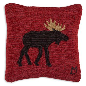 "Brown Moose Hooked Wool Pillow 14""L"
