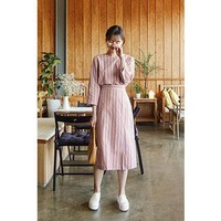 Buy CHERRYKOKO Band-Waist Stripe Long Dress | YesStyle
