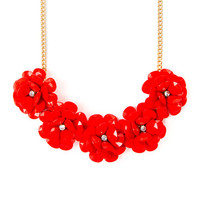Blooming Red Shiny Stone Teardrop Flowers Statement Necklace