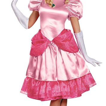 Deluxe Adult Princess Peach Costume Women Princess Peach Super Mario Bros Party Cosplay Costumes Halloween Party Dress