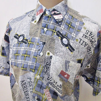 Vintage 90s Shirt Crazy Pattern Flying Pilot Plane Postmodern Print Large