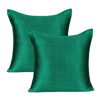 Emerald Green Green Pillows Cover (Set of 2 Covers, Faux Raw Silk, Emerald Green Green, 16x16 inches): Amazon.ca: Home & Kitchen