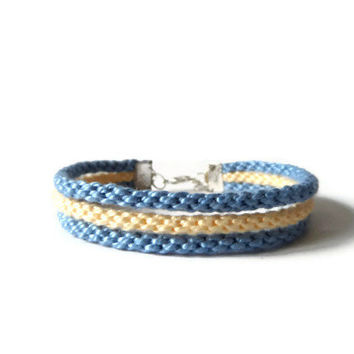kumihimo rope bracelet wrap friendship bracelet from kumihimo strands lenght adjustable in yellow and blue 17,5 - 19 cm (6,9 - 7,5 cm)