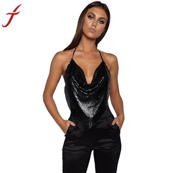 Women's Sequined Embellished V-neck Halter Backless Blouse