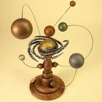 Spiral Nebula Orrery with Rings Miniature Alien Sun and Planet System in Wood