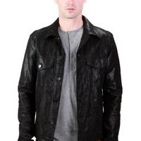 United Face Mens Classic Leather Trucker Jacket