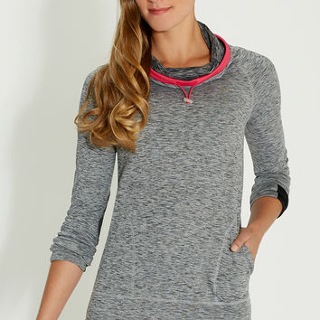 spacedye pullover with cowl neck in charcoal