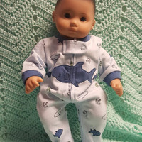 "Baby doll clothes ""Shark Week"" (15 inch) doll outfit Will fit Bitty Baby® Cabbage Patch® boy sleeper blue shark R2"