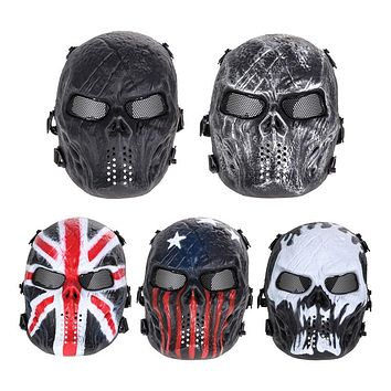 Airsoft Paintball Full Face Protection Skull Mask Army Games Outdoor Metal Mesh Eye 5 Color