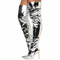"CR Silver Patent Pointy Toe OTK Thigh Boot 4"" High Heel 6-11"
