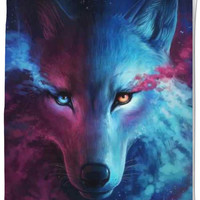 COTTON CANDY WOLF SHOWER CURTAIN