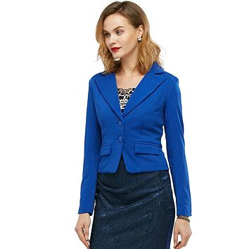 S-4xl Size 2016 Women Autumn Winter Outwear Notched Long Sleeve Button Office Business Slim Blazer Suit