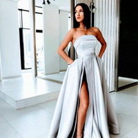 Sexy Slit A Line Prom Dresses Satin Evening Dress Silver Long Prom Dress Formal Gowns A9590
