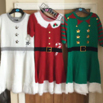 BNWT PRIMARK LADIES KNITTED XMAS DRESS SANTA OR ELF INC HAT CHRISTMAS 6 - 20 | eBay