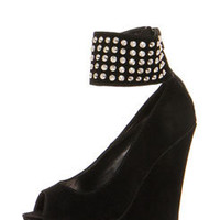 Honey Suedette Peeptoe Studded Ankle Strap Wedges