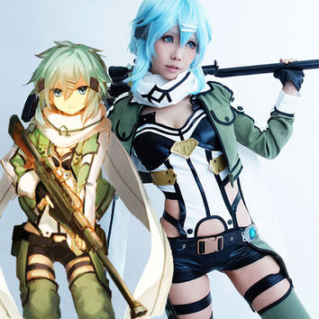 halloween costumes for women adult sword art online Asada Shino cosplay costume sword art online 2 Sinon Military cosplay outfit