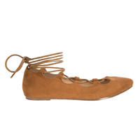 Tan Suede Lace-Up Flats-FINAL SALE