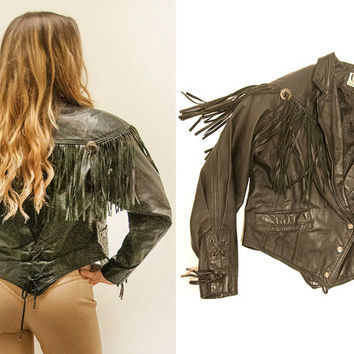 Womens Small XS Leather Fringe Jacket | Cute Fitted Black 100% Leather and Silver Concho Biker Western Jacket with Corset & Bolo Tie Details