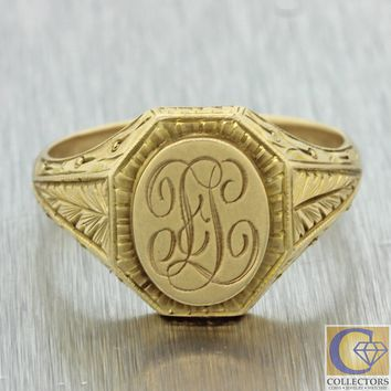 1880s Antique Victorian 14k Solid Yellow Gold Monogrammed Engraved Signet Ring