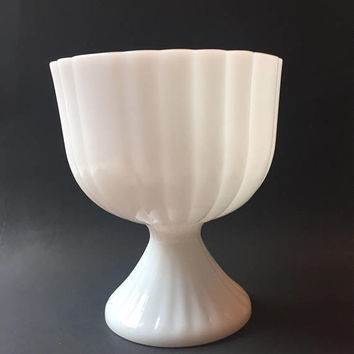 Paneled Milk Glass Planter, Vintage Milk Glass Vase, Centerpiece, Wedding Decor