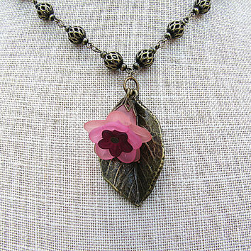Floral pendant necklace Flower and leaf charm Pink necklace VIntage look antique brass chain necklace Single strand filigree link  chain