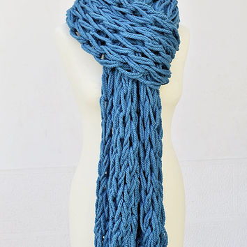 Extra Long Arm Knit Scarf Wrap, Chunky Turqouise Knit Scarf