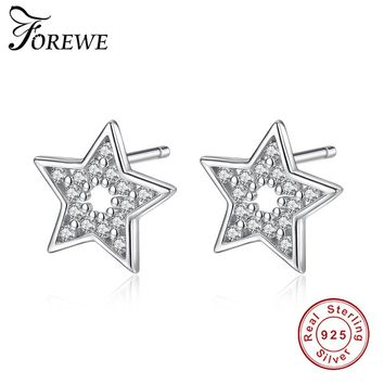 FOREWE New Arrival 925 Sterling Silver Exquisite Star Stud Earrings for Women Zirconia Stone Earring Tiny Silver 925 Jewelry