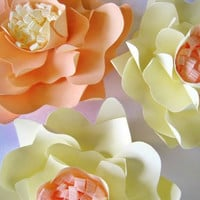3  Paper Flowers, Peach And Beige Paper Flowers, Medium Flowers, Wedding Wall Decor, Wall Paper Flower, Paper Wedding, Table Centerpiece