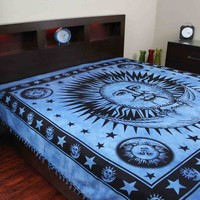 Handmade Cotton Heavy Celestial Mandala Sun Moon Star Tapestry Spread 84x96 Blue