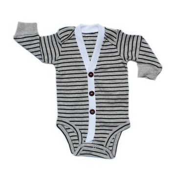 Baby Cardigan - Grey with Black Stripes Preppy Baby Boy Cardi - Perfect for a Winter Baby Shower Gift