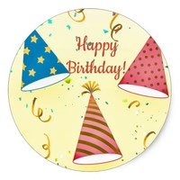 Happy Birthday Celebration Round Sticker