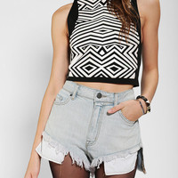 Urban Outfitters - Sparkle & Fade Geo Mock Neck Cropped Top