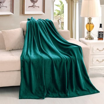 Queen King Size Super Soft Warm Winter Blanket Throws on Bed/Sofa Pure Color High Quality Flannel