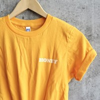 Honey Yellow Clothing T-Shirt Casual Honey Slogan Letter Harajuku Tee Cotton Aesthetic Girl Summer Outifts O-Neck t shirt